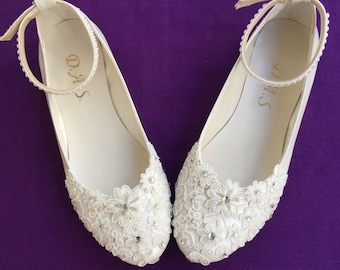 Lace_up Custom Lace Flower Pearls,  Wedding Shoes, Party shoes, Lace Flat Foot Ring Wedding Shoes, Wedding Flat Shoes, Ballet Flat Shoes