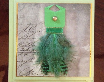Handmade Origami Feather Dress Greeting Card
