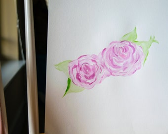 Twin Roses in Watercolor