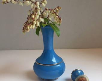 Vintage Avon Royal Vase Decanter, stunning soft blue and gold, hard to find!