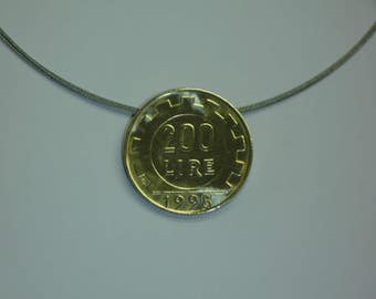 Coin necklace, coin necklace, coin REPVBBLICA ITALIANA, 200 lire, 1998, aluminium bronze, handmade, necklace made of 925 sterling silver gold plated