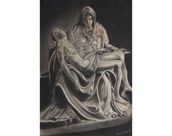 Peta, Rome -Archival Print from a Charcoal Painting
