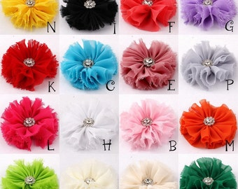 "3"" Frayed Ballerina Chiffon Flower With Rhinestone For Hair Accessories Shabby Fabric Flowers For Headbands Diy Flower Supplies"