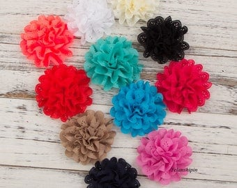 "4"" Artificial Fabric Flowers For Girls Dresses Fluffy Eyelet Fabric Flowers For Headbands Hair Accessories For Hair Ties Clips"