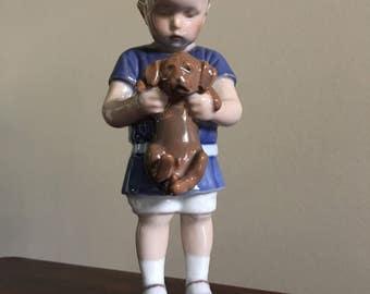 Bing Grondahl B&G  Ole Little Boy With Puppy