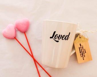 Coffee Mug - 14oz. - White Mug- Ceramic Mug - Vinyl - Glitter Wood Tag - Inspirational Gift - Inspirational Coffee Mug- Custom Coffee Mug