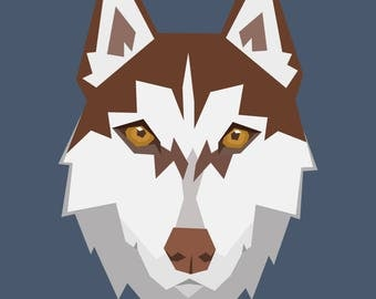 Custom Geometric Pet Portrait / Digital Art / Dog Face Vector