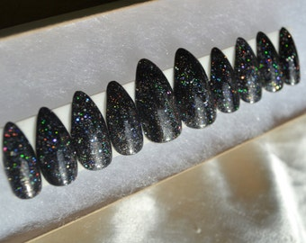 Holo galaxy press on nails |Any size or shape|Fake nails|glue on nails|Press on nails|Matte nails|Stiletto nails|Coffin nails|Holo powder|