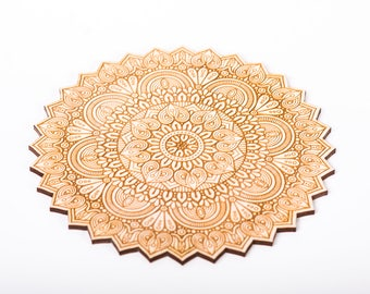 Wood Mandala, Wall Art, Home Decor, Wood shape, Wooden Ornament,  Gift Tag,, Laser Cut Crafting Supplies, Wood charms, #2601