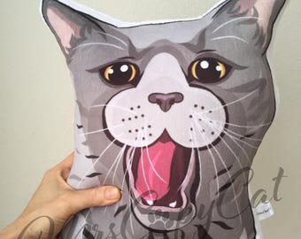 Cat Portrait Plush Pillow - Funny Russian Blue Cat - Handmade Cat Shaped Plush Pillow - Crazy Cat Lady Gift - Kids Gift Cat Plush Pillow