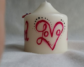 Personalised pillar candle made to order/bespoke/handmade/love/unique