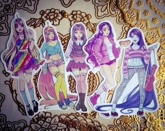 Girls of Adventure Time Sticker set, 5 stickers