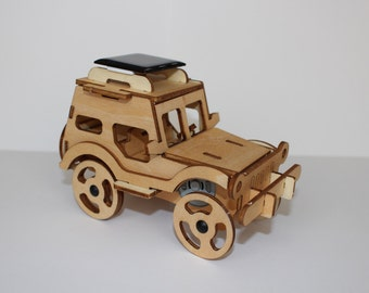 Educational Solar Powered Wood Jeep 3-D Puzzle Toy