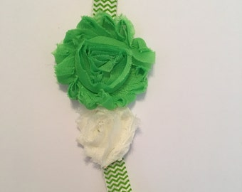 A sweet bright green and ivory headband