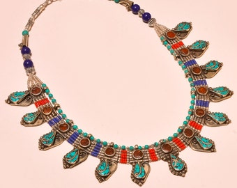Tibetan Necklace Rare Gyspy Necklace,Turquoise ,Coral,Lapis ,Gift for All Occasion