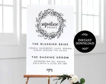 Signature Drink Sign INSTANT DOWNLOAD Editable PDF, Signature Drinks Printable, Wedding Reception Sign, Wedding Bar Sign - Audrey