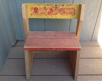 Vintage Wooden Children's Step Stool/Bench