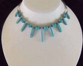 Turquoise Spike and Ball Necklace with Bronze Accents