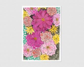 Fuschia Garden Blank Greeting Card
