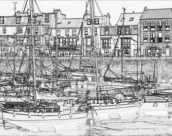 Devon Harbour (A4 Digital Art Print)