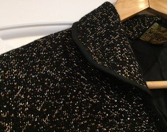 Cropped very chic shimmery black and gold vintage vest- made in France
