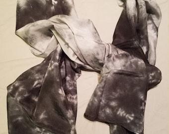 Women's Fashion Shibori Style Black and Silvery 100% Habotai Silk Scarf.