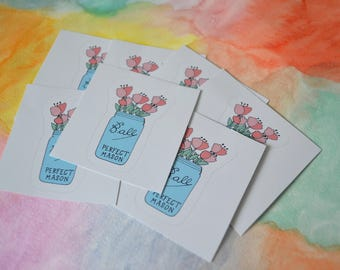 Mini Ball Jar Bouquet Sticker
