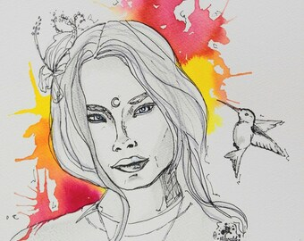 Wildlife girl, art print, print, print
