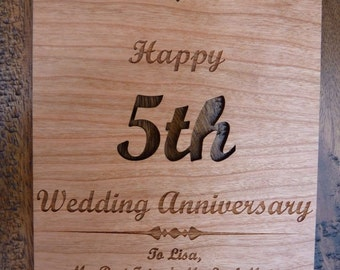 5th wedding anniversary wooden card personalised wood card anniversary ...