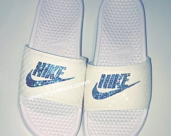 Nike Benassi Sandals in White with Aquamarine Swarovski Crystals