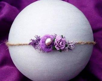 Newborn tieback, Purple tieback, Lavender tieback, Natural, Baby Headband,Photography Prop,Newborn prop, photo prop, Petite headband,