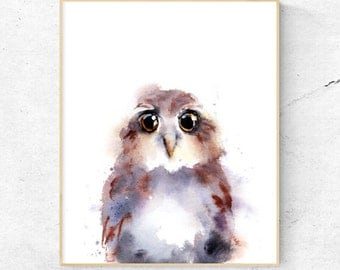 Owl Watercolour Fine Art Print, Woodland Nursery Art, Baby Owl Wall Decor, Baby Animal owlet Print, Printable Digital Poster Download