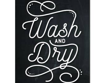 Wash and Dry Chalkboard Laundry Print