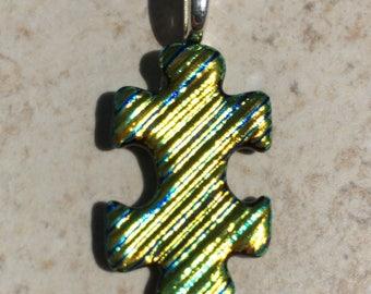 Dichroic Fused Glass Pendant - Yellow Orange Striped Ridged Puzzle Pendant
