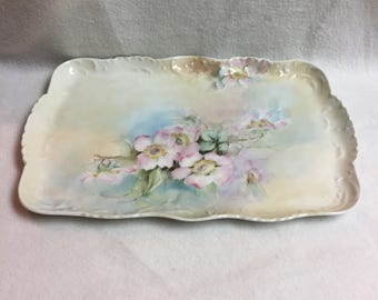 Limoges Hand-painted Peony Dresser Tray (#004)