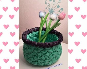 Webbing crochet basket