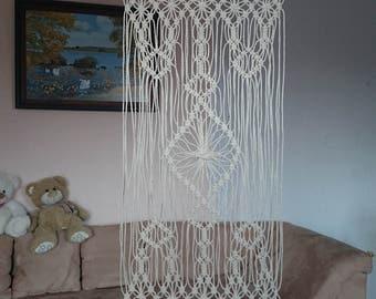 rideaux macram etsy. Black Bedroom Furniture Sets. Home Design Ideas
