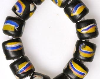 12 Old Black & Yellow Venetian Glass Trade Beads - Vintage African Trade Beads - #7509