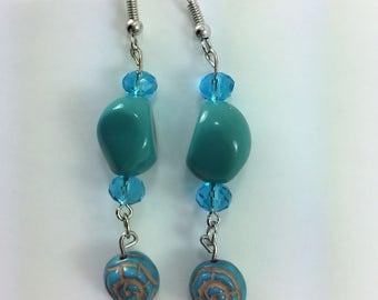 Aqua blue/green earrings #98