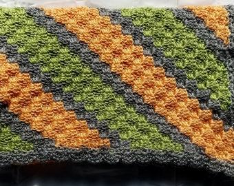 Crochet baby blanket, baby afghan, orange baby blanket, orange baby afghan, green baby blanket, green baby afghan