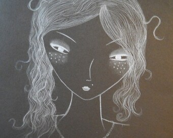 Portrait white pencil on black paper