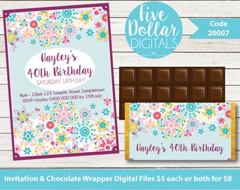 Floral Personalised Digital Birthday Invitation & Chocolate Candy Bar Wrapper