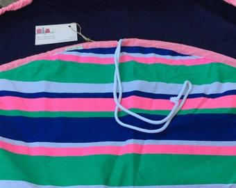 Girls Nautical Stripe Toy Storage Bag, lego bag, drawstring bag,