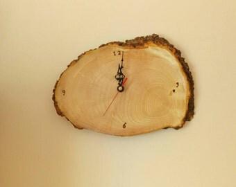 Wood slice wall clock