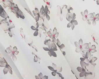 Grey Flower Georgette Fabric