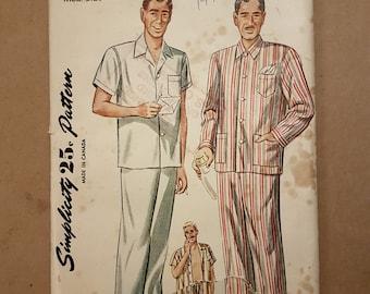 Vintage 1945 Sewing Pattern - Simplicity 1635 - Men's Pajamas