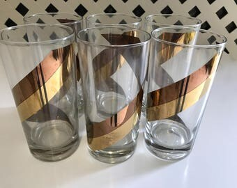Vintage Seventies Gold Striped Highball Bar Glasses