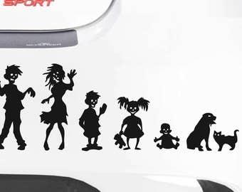 Zombie Family Decal Sticker - Vinyl Decal, Window Sticker, Car Sticker