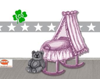 ECO Kinderbordüre: Sterne   Stars - Bordüren für Kinder, Bordüre für Allergiker, Sternenbordüre,  Wandbordüre, Vliesbordüre, Wandborte Stern
