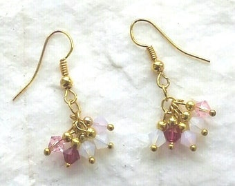 Beautiful Swarovski Crystal Pink And White Opal Cluster Gold Earrings